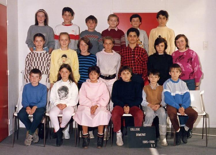 Photo de classe college domerat 85 86 5e1 de 1985 coll ge for College domerat