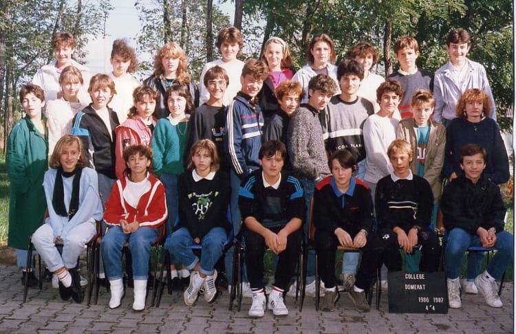 photo de classe college domerat 1986 1987 4e4 de 1986