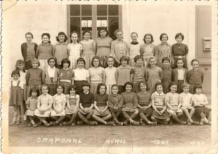 Photo de classe primaire de 1961 ecole du centre for Lycee craponne salon