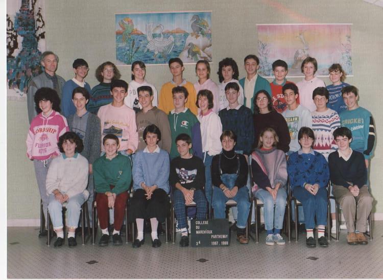 Photo de classe 3ieme 4 (1987-1988) de 1988, Collège