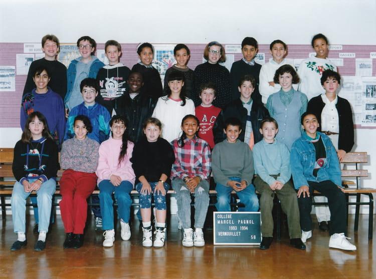 Photo de classe 5B de 1993, Collège Marcel Pagnol